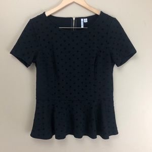 Elle | Flocked Polka-Dot Black Peplum Top